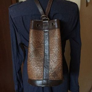 Leather and Rattan Backpack